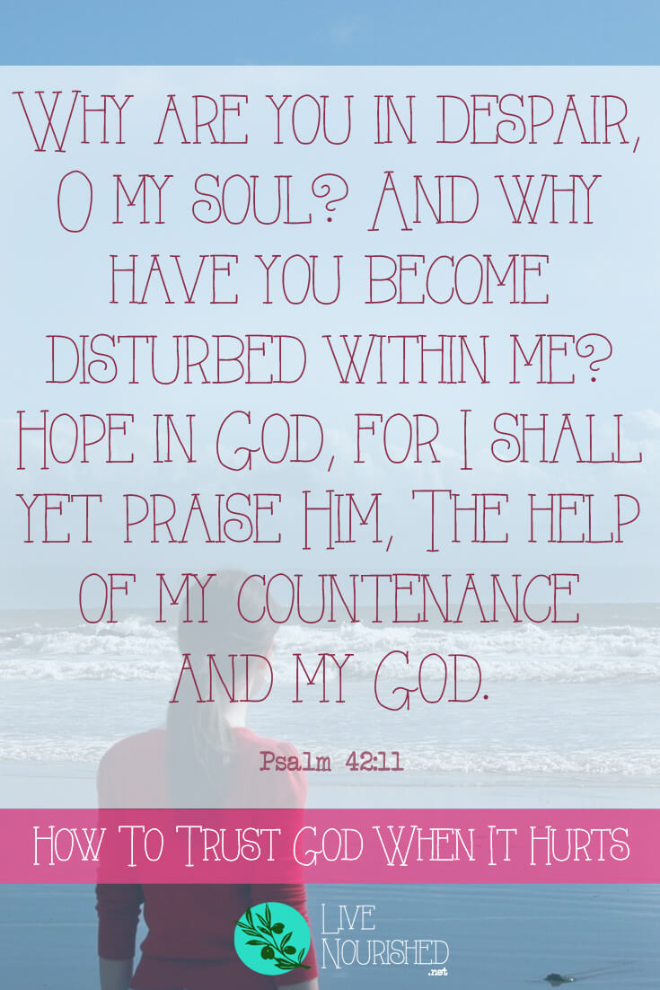 Why are you in despair, O my soul? And why have you become disturbed within me? Hope in God, for I shall yet praise Him, The help of my countenance and my God. (Psalm 42:11) Do your emotions sometimes eclipse your faith in hard times? Do you find it hard to be at peace amidst the pain? This post gives two keys to help you to trust God, even when it hurts.