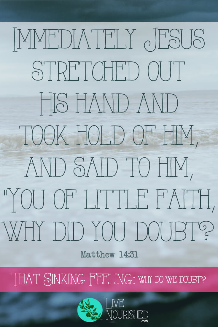 "Immediately Jesus stretched out His hand and took hold of him, and said to him, ""You of little faith, why did you doubt? { Matthew 14:31 } First he stepped, then he strolled, but now he was sinking. Find out what really caused Peter to doubt while he was walking on the water towards Jesus, and how to avoid making the same mistake..."