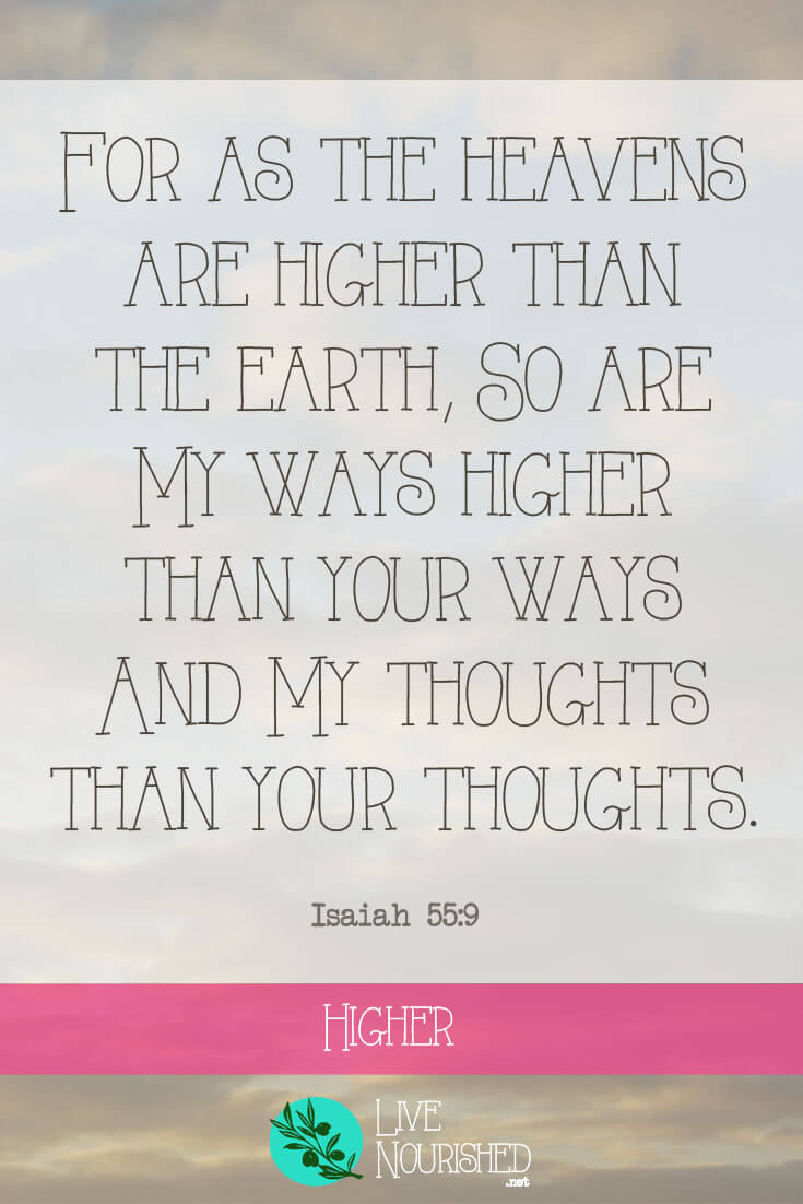 For as the heavens are higher than the earth, so are My ways higher than your ways and My thoughts than your thoughts. { Isaiah 55:9 } Here on earth, our perspectives are limited. Discover why it's good news that God's ways and God's thoughts are much higher than ours...