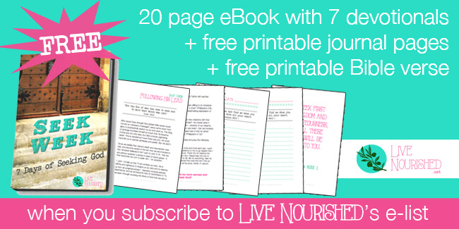 Free eBook when you subscribe to Live Nourished's newsletter!