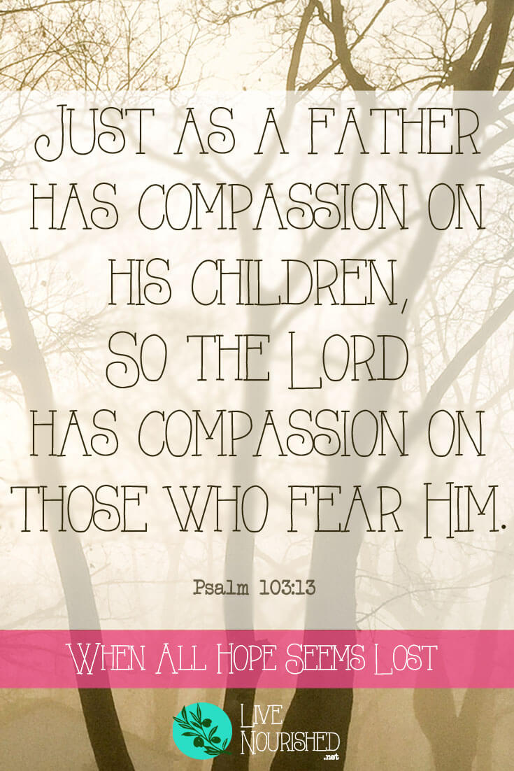 Just as a father has compassion on his children, so the Lord has compassion on those who fear Him. { Psalm 103:13 } Do you sometimes wonder why God doesn't heal you, help you or even seem to hear you? When all hope seems lost, there is one priceless treasure to be found...