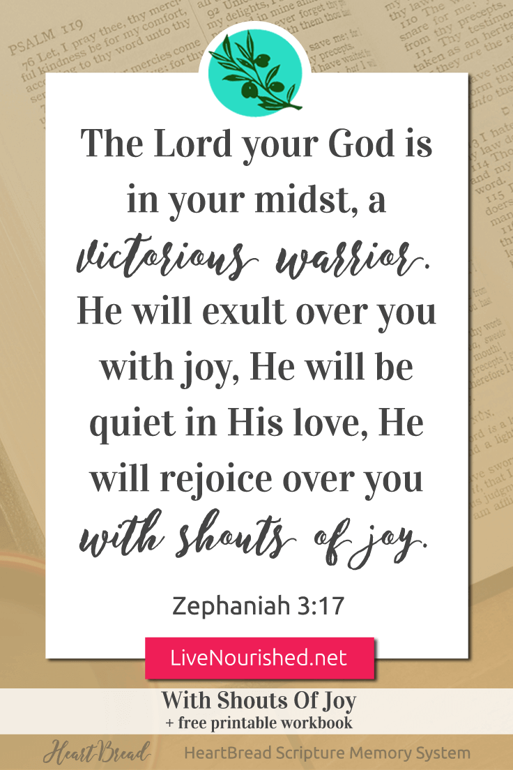 Have you ever been so overjoyed you wanted to squeal? God feels that way… about you… (HeartBread Scripture Memory System - Hear It, Know It, Live It.) { Zephaniah 3:17 }